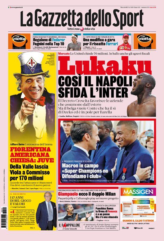 367a7e118 La prima pagina della Gazzetta dello Sport del 09/06/2019